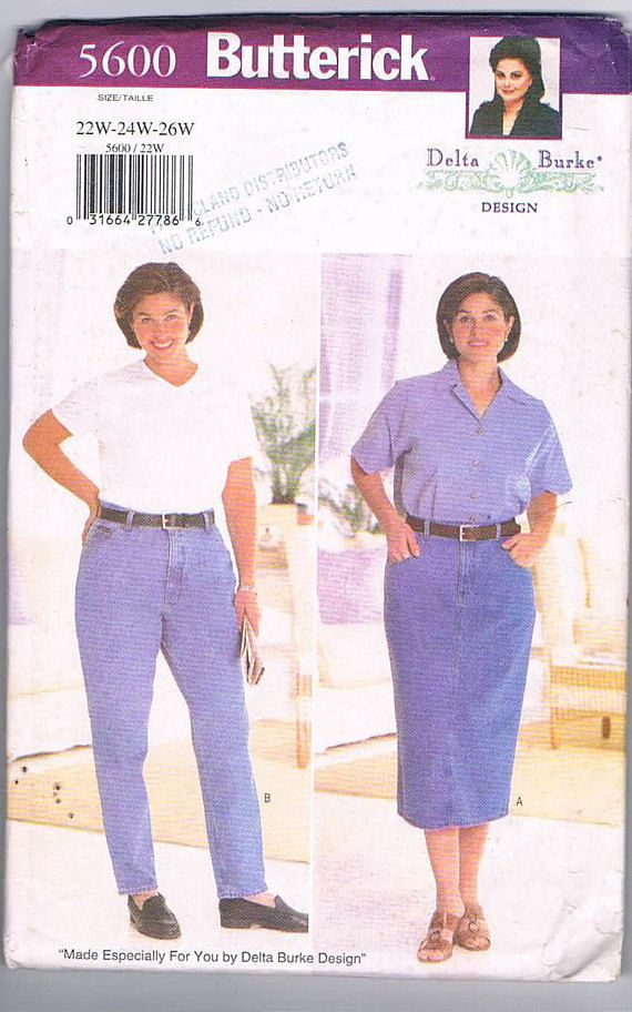 Butterick 5600 Delta Burke Plus Size Skirt and Jeans Size