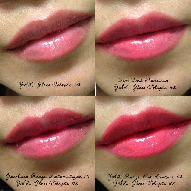 YSL Gloss Volupte 102 swatches rose satine | beauty
