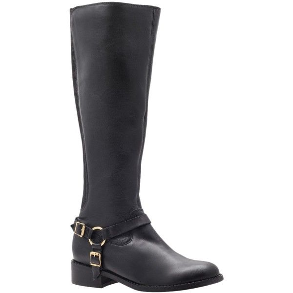 Carvela Petra Knee High Boots (4 830 UAH) ❤ liked on Polyvore featuring shoes, boots, black leather, knee-high boots, black knee high boots, flat boots, knee high buckle boots, low black boots and leather knee high boots