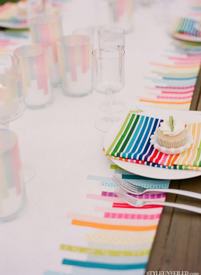 Washi tape table cloth. Love this! For weddings or backyard get togethers.