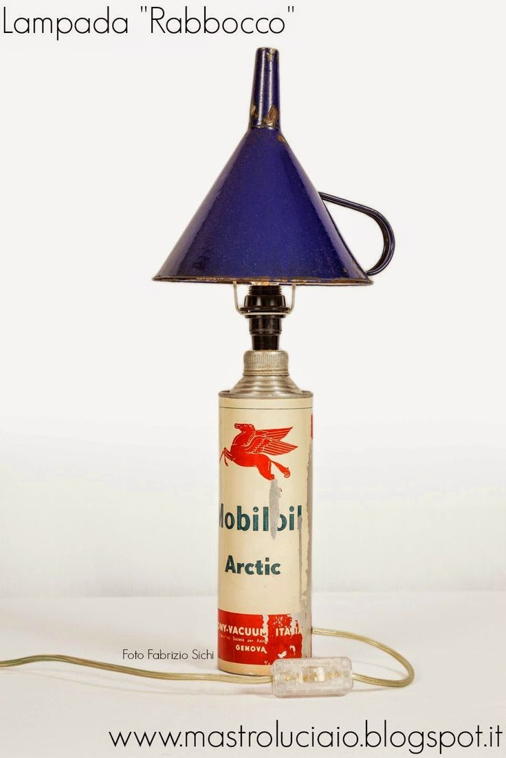 """""""Rabbocco"""" lamp, made with Mobiloil can from the 50's and enameled funnel. #mobiloil #can #50s #lamp #vintage #redesign #handicraft #recycle #reuse #artigianato #lampade #lights #luci #handmade"""