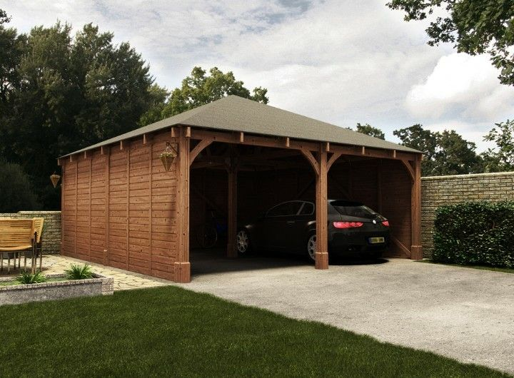 pitched roof enclosed carport