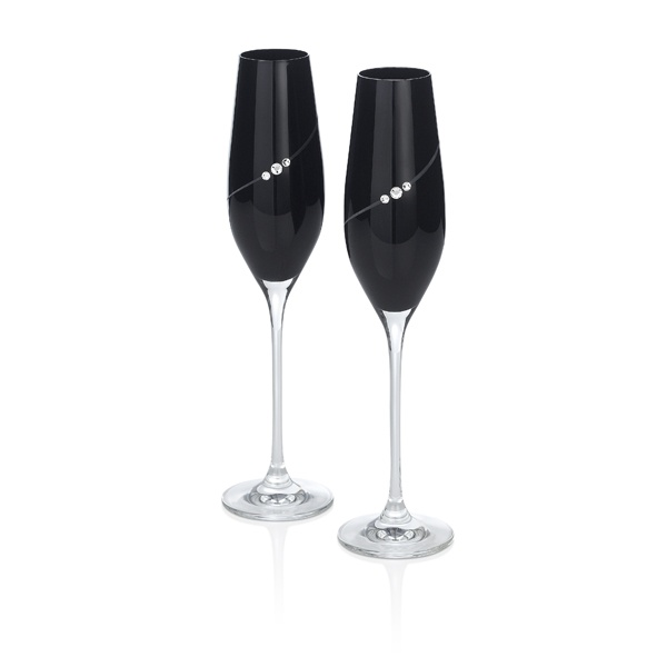 Black Crystal Champagne Flutes  made with SWAROVSKI ELEMENTS