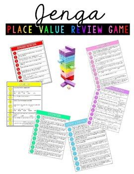 Many teachers have shared the awesome idea of using colored wooden blocks from the game Jenga to review and teach different concepts. This game is designed to go with 6 different colored blocks and review different place value concepts. The concepts included in this game are: - expanded notation - rounding decimals - estimation with decimals - comparing decimals - adding and subtracting decimals.