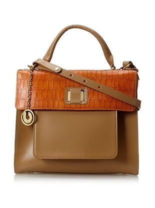 60% OFF Charles Jourdan Women's Jocelyn Handle Bag, Orange/Natural