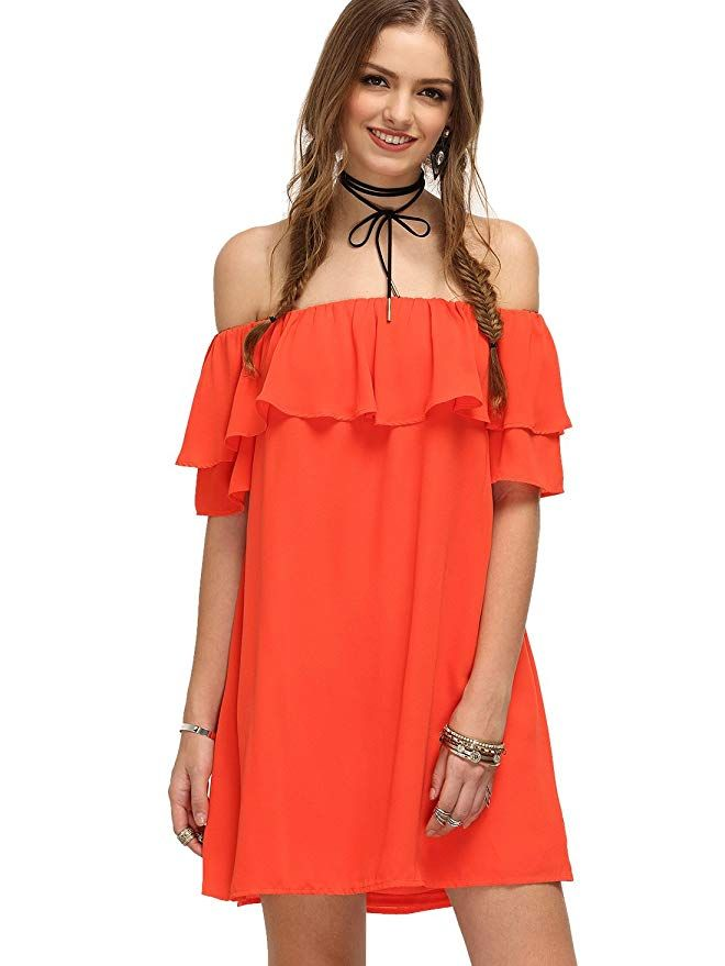 Off The Shoulder Ruffles Mini Dress  fashion  orange  037d7d3c6