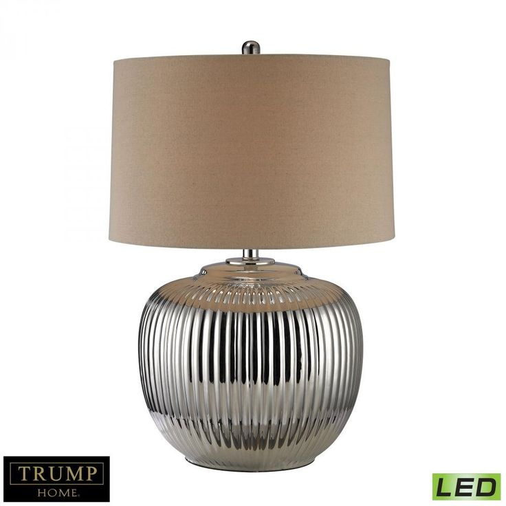 Lamps By Dimond Trump Home Oversized Ribbed Ceramic LED Table Lamp in Silver D2640-LED