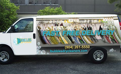 This eye catching van wrap is great advertising for the local dry cleaners - vehicle graphics inspiration. #vehiclewrap #vanwrap #inspo