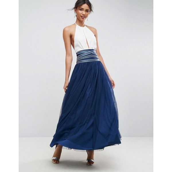 ASOS Maxi Tulle Skirt with Crossover Embellished Waistband ($98) ❤ liked on Polyvore featuring skirts, navy, floor length tulle skirt, navy maxi skirt, long tulle maxi skirt, maxi skirt and high waisted skirts