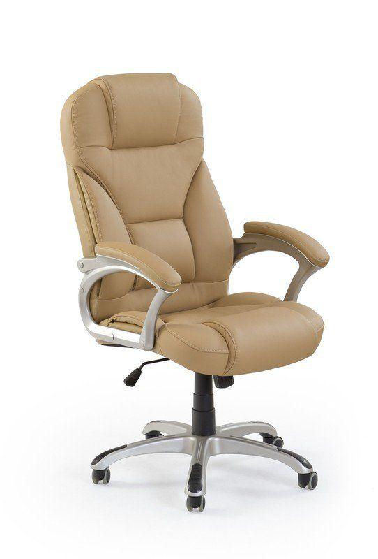 Kancelárske kreslo je potiahnuté béžovou eko kožou a jeho stabilita je zaručená klasickou chrómovanou základňou s piatimi kolieskami potiahnuté gumou.