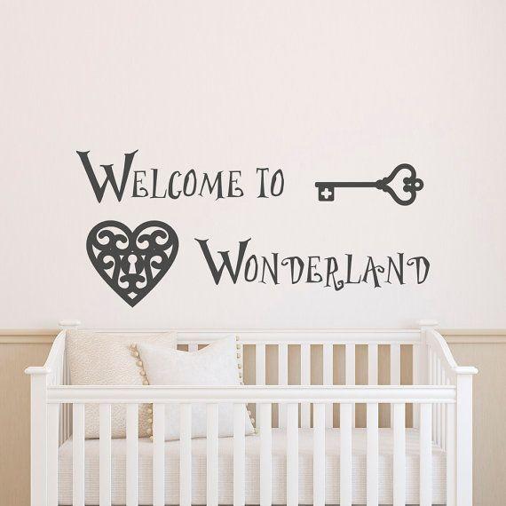 Alice in Wonderland Cat Rabbit Wall Sticker PVC Mural Decal Kids Girl Room Decor
