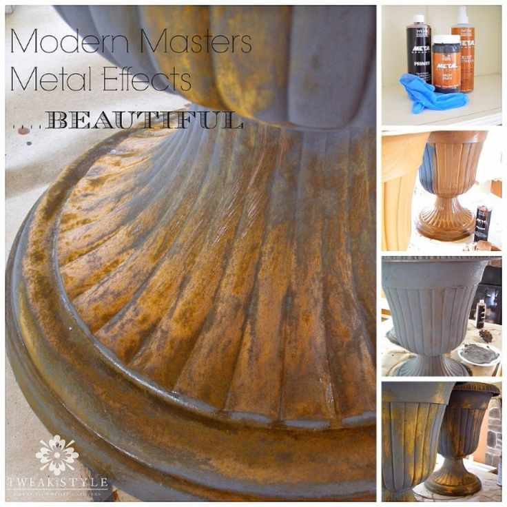 creating a rust patina on plastic urns modern masters, home decor, painting, repurposing upcycling, Using 3 products from the Modern Masters Metal Effects line see how easy it is to transform a plastic urn