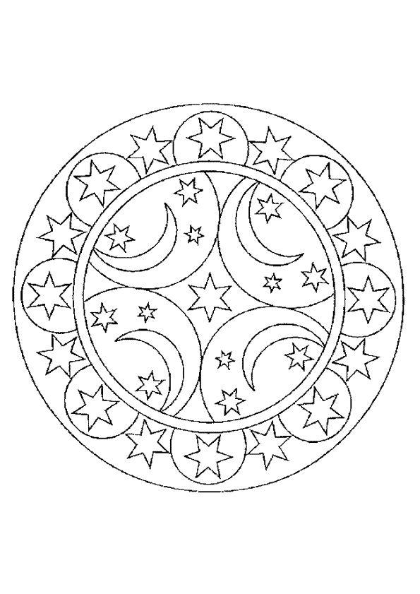 Coloriage mandala etoiles lunes sur printables - Hugolescargot mandala ...