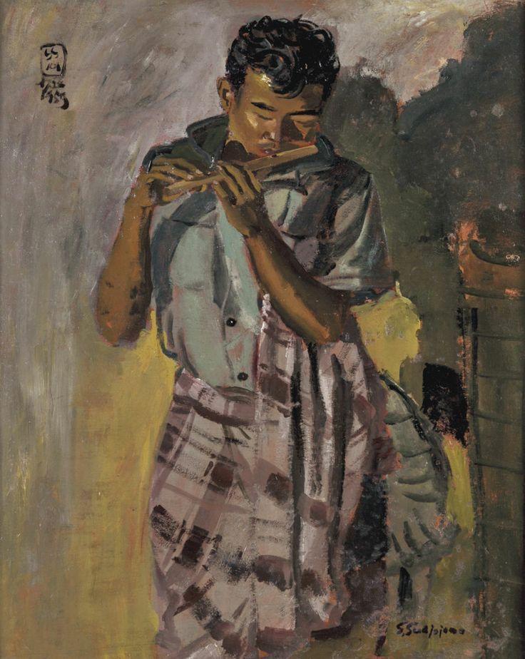 S Sudjojono - Pemain Suling (Flautist)