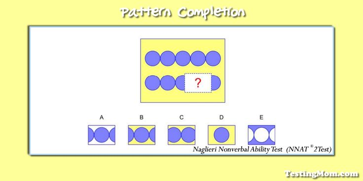 Can your child discover the missing piece for this pattern completion question from the #NNAT? #kindergarten