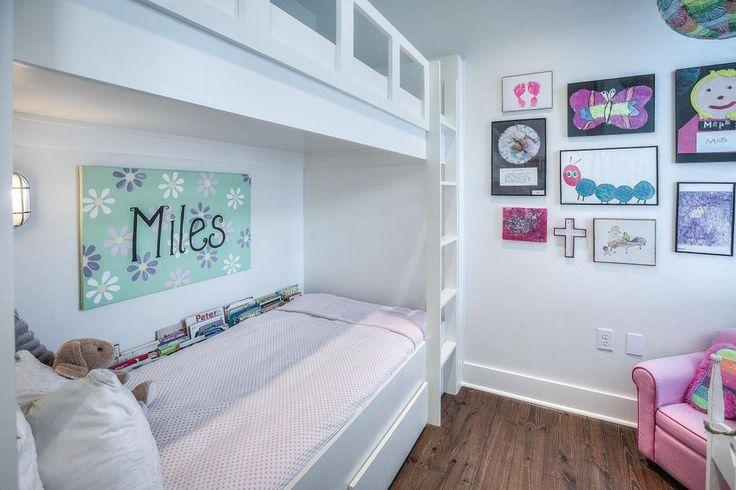 Traditional Kids Bedroom with Bunk beds, Wildon Home Bowdoinham Kid's Club Chair, Built in bunk beds, Hardwood floors