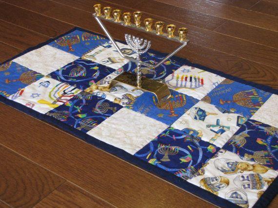Hanukkah Table runner, Quilted , Reversible, Menorah Mat, Hanukkah ...