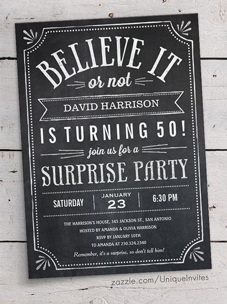 15 best Surprise Party Invitations images on Pinterest Birthday