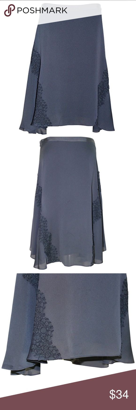 """NWT Banana Republic Handkerchief Lace Trim Skirt Banana Republic Handkerchief Lace Trim Skirt Color:Dark charcoal Size (6) Sexy, Chic, flowy and oh so flattering with a pop of sweet lace. Asymmetrical hem. Skirt length: Regular 26 1/4"""" 14""""Waist laying flat Banana Republic Skirts Asymmetrical"""