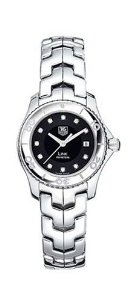 TAG Heuer Women's WJ1318.BA0572 Link Diamond Accented Watch, (watches, black face, casual watch, diamond markers, tag heuer link, aquaracer, ladies tag watch, luxury, mother of pearl)