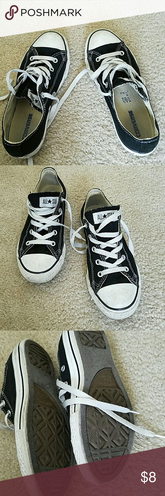 Used Converse Used Converse that have been loved. These converse are going to need some care. They need cleaning and maybe some new laces. The black fabric is a bit faded. The last picture shows the dirt on the shoes and the dirt is like that all around the shoes.  !!!!!!! PRICE BASED ON CONDITION!!!!!   US size 2 UK size 1.5 Converse Shoes Sneakers
