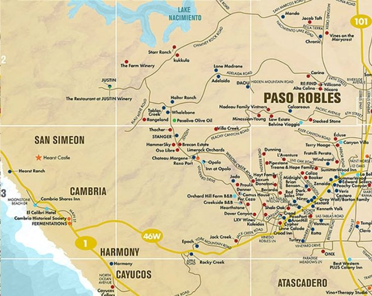 Paso Robles Area Wine Tasting Map