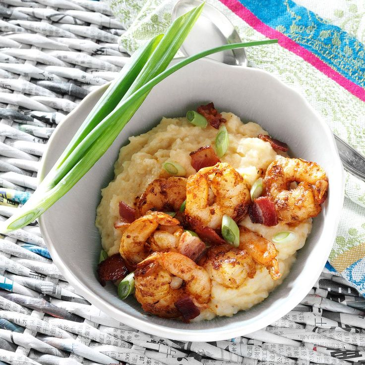 Southern Shrimp and Grits Recipe -A southern specialty, sometimes called breakfast shrimp, this dish tastes great for brunch, dinner and when company's coming. It's down-home comfort food at its finest. —Mandy Rivers, Lexington, South Carolina