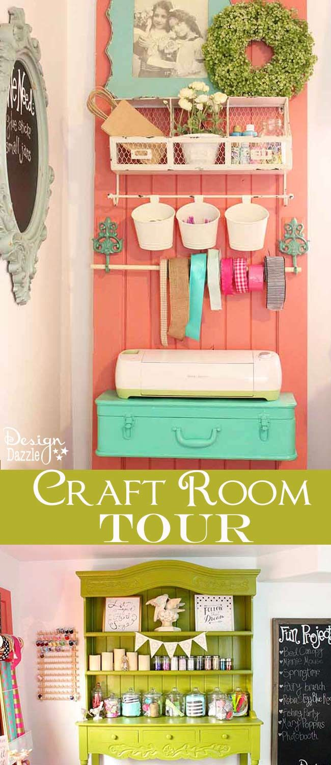 "Take a peek into my craft room! Love the craft ""storage-on-a-door"" organizer, metal toolbox for supplies and glitter jar storage ideas! This is where all the magic happens. Perfect storage shelf for my Cricut. See the full tour on Design Dazzle!"