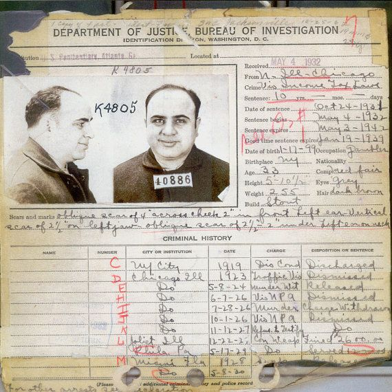 Al Capone - Criminal Record - Rare - Antique - Vintage - Photograph - Print - Photo - Photography - Mafia - Chicago - Mobster - Prohibition