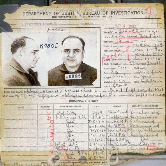 Al Capone - Criminal Record - Rare - Antique - Vintage - Photograph - Print - Photo - Photography - Mafia - Chicago - Mobster - Prohibition