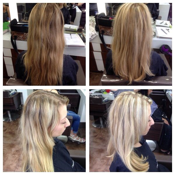 Half head of highlights and cut with layering, forward graduation and fringe   29/6/15