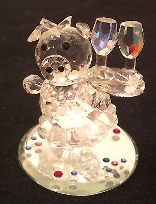 Swarovski-Iris Arc Crystal Pig Waitress Figurine-Color crystals-Collectible-Mint