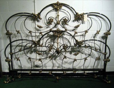 Ornate Black Painted Cast Iron King Size Bed Frame On Cast Iron