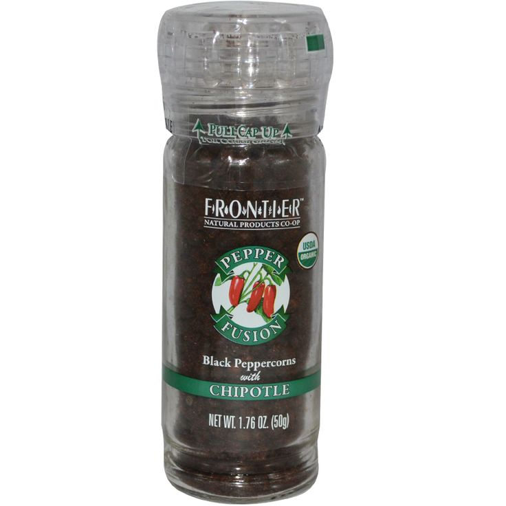 (подкопченый перчик) Frontier Natural Products, Pepper Fusion, Black Peppercorns with Chipotle, 1.76 oz (50 g) - iHerb.com