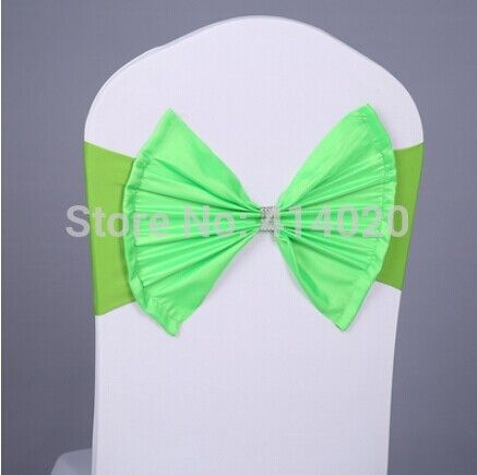 Express Shipping 100Pcs/lot Jewelled Diamond  Bownot Green  Lycra Chair Bands&Sash For Wedding Events Hotel Party Decoration