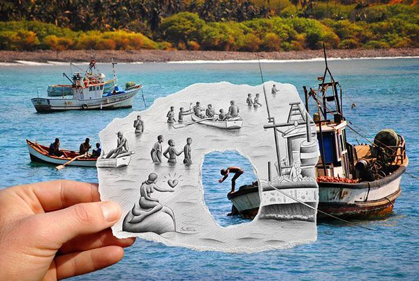 "Belgian painter Ben Heine has been taking photos and drawing almost since he was 10 years old. This ""Pencil Vs Camera"" series is nothing but the result of several years of graphic exploration and a logic consequence of his artistic evolution."