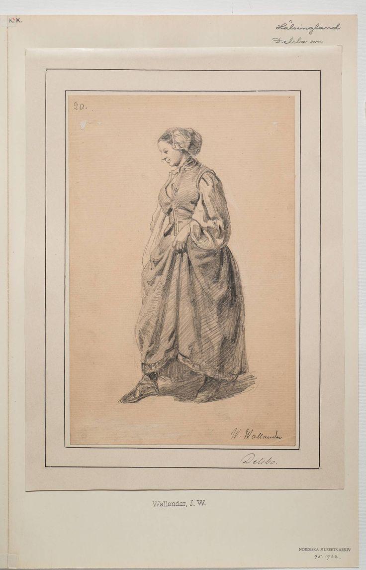 Kvinna från Delsbo. Skiss av Wallander.
