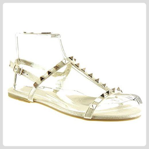 Angkorly - damen Schuhe Sandalen - T-Spange - Nieten - besetzt - Schleife - golden flache Ferse 1 CM - Gold 2017-02 T 38 - Sandalen für frauen (*Partner-Link)