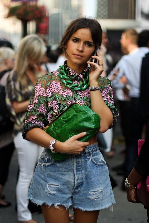 Miroslava Duma green necklace x clutch
