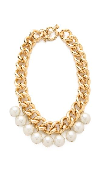 "Juicy Couture Chunky Chain Necklace, 18"" gold plate. Add pearls to an old gold chain necklace!"