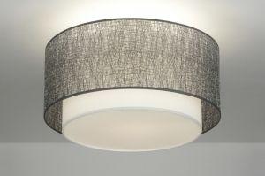 plafondlamp  88540: modern, design, stof, wit, zilver, rond ...