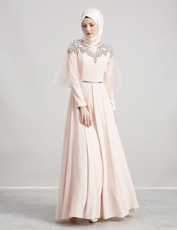 Tül ve Taş Detaylı Elbise Pudra A7 23063 | Kayra Online
