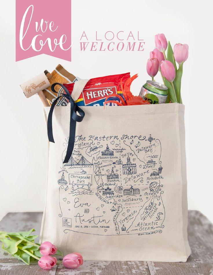Eastern Shore Maryland Welcome Bag Custom Map Tote Bag Custom Maryland Wedding Favor Inspired! Vol 5   Spring/Summer 2016
