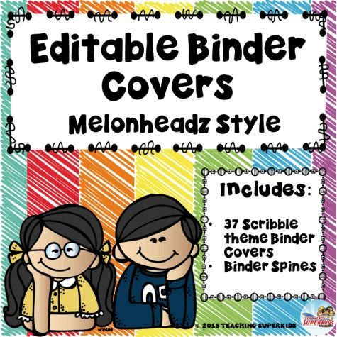 Student Binder Covers Editable Binder featuring Melonheadz super cute clip art kids! Both color and Black and White options are available in this set!