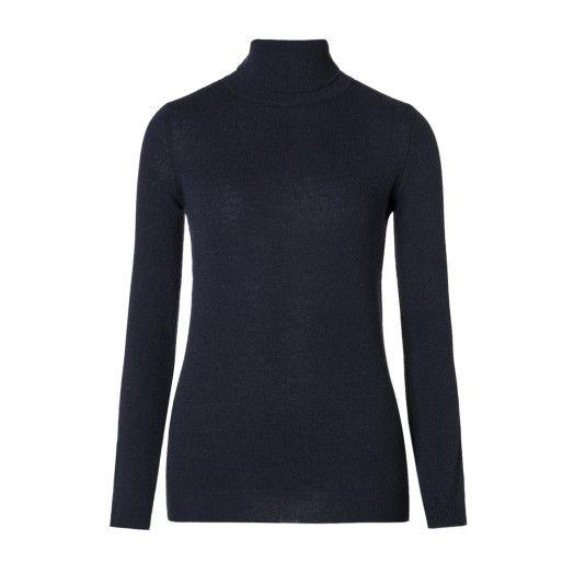 Maglia collo alto, a maniche lunghe, slim fit, in pura lana vergine. Collo, polsi e fondo busto in costina.1002D2048 BLUE