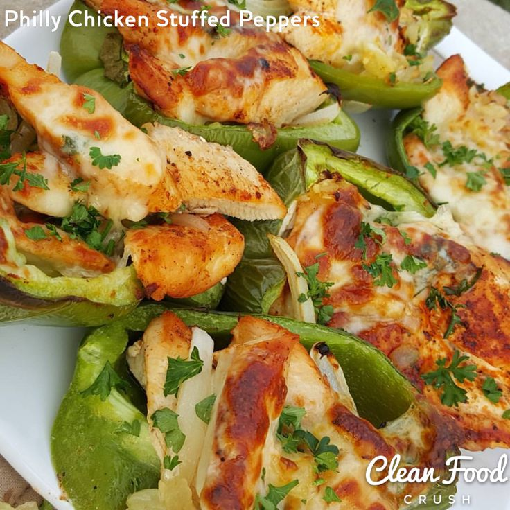 Clean Eating Philly Chicken Stuffed Peppers http://cleanfoodcrush.com/philly-style-chicken-peppers