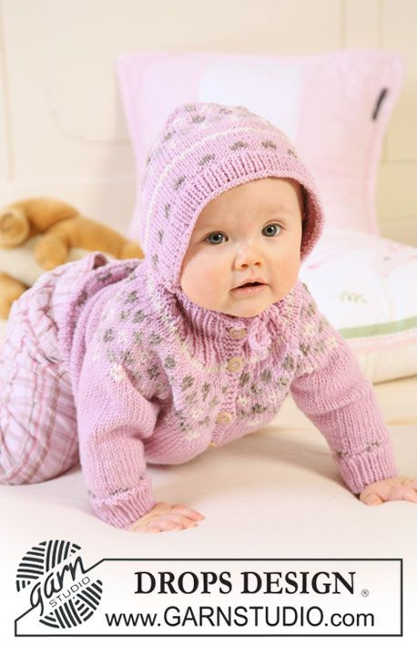 "Knitted DROPS jacket with raglan sleeves and turtle neck, bonnet and socks with pattern in ""Merino Extra Fine"". ~ DROPS Design"