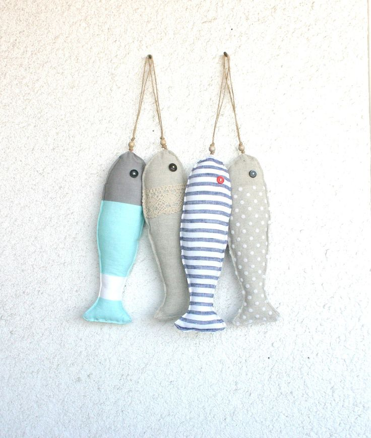 4 Fabric stuffed fish ornaments, summer house décor, nautical, cute,. $41.00, via Etsy.