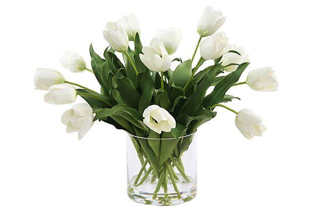 """16"""" Tulips in Vase, White on OneKingsLane.com"""