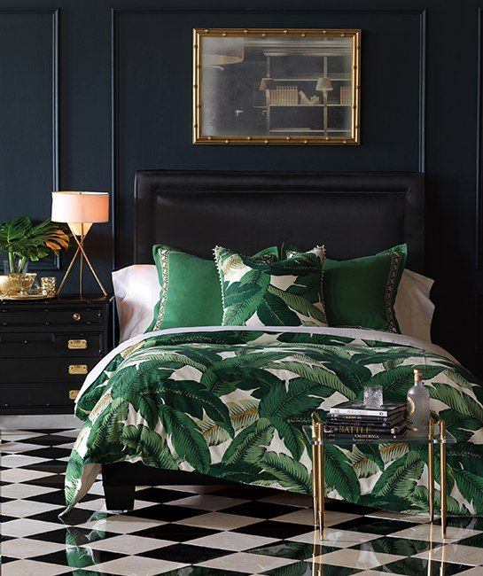 Lanai bedding. There's no denying that the tropical Beverly Hills Hotel, swathed in Hinson's lush Martinique wallpaper, Dorothy Draper's Greenbrier, done up in the slightly more saturated Brazilliance, have become the symbol of poolside glam. In yet another rendition of the classic motif, Eastern Accents has released a suite of leafy bedding called Lanai befit for a Hollywood Regency resurgence.